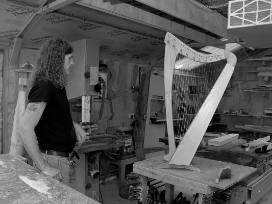 A finished harp in the workshop